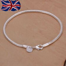 UK 925 SILVER PLATED SNAKE CHAIN CHARMS BRACELET / BANGLE / ANKLET LADIES