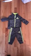 Adidas Baby Boy 3 Month Athletic Jacket & Sweatpant Track Suit Gray outfit Used