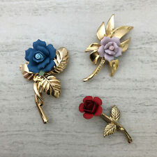 Vintage Rose Brooches/Pins Lot of 3