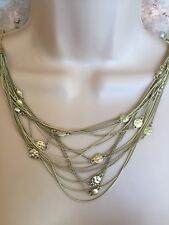 NEW OASIS Multi Strand Gold Colour Chain Statement Costume Long Party Necklace