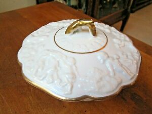 Candy Dish, White Ceramic Gold Footed w/Embossed Cherubs and Gold Trim