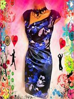 KAREN MILLEN**STUNNING SATIN FLORAL STRETCH  WIGGLE EVENING/CRUISE DRESS SIZE 12