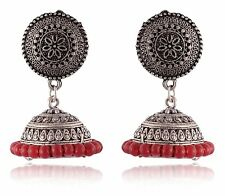 Indian Women Fashion Jewelry Silver Oxidized Red Pearls Jhumka Earrings Set