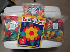 PATTERN BLOCKS - teach colors & shapes - teachers schools - 7 lbs + BOOK -3 bags