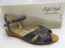 Soft Style Womens Midnite Black Ankle Strap Low Wedge Sandals SZ 5.5 M NEW 11287