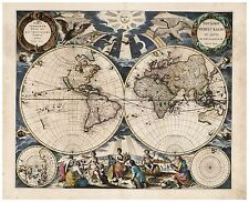 Vintage Old decorative World Map Goos 1667 paper or canvas