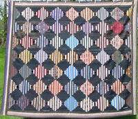 ANTIQUE 1860s COURTHOUSE STEPS LOG CABIN QUILT CHINTZ BACK