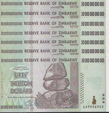 7x 50 TRILLION ZIMBABWE DOLLAR MONEY CURRENCY.UNC* USA SELLER*
