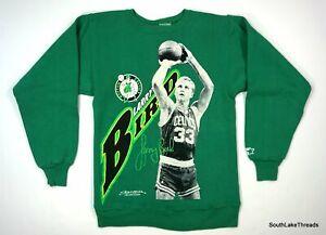 VTG 80s Starter NBA Larry Bird Boston Celtics Crew Neck Sweatshirt Small Green