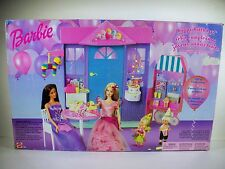 NIB BARBIE DOLL HAPPY BIRTHDAY PLAYSET BIRTHDAY CAKE LIGHTS UP WIND UP POPCORN