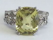 14k WHITE GOLD RING WITH DIAMONDS  & EMERALD SHAPE LIGHT GREEN GEMSTONE