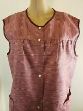 Homemade Women's Button Snap Front Apron Wine XL Heathered