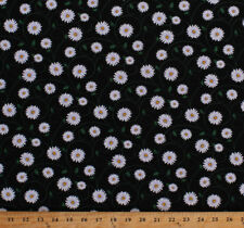 Daisies Daisy Flowers Floral Vines Black Spring Cotton Fabric Print BTY D769.38