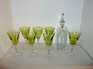 Signed NILS LANDBERG Orrefors Apple Green Wine Glasses NUDE Female Decanter 1945