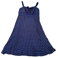 MONSOON Womens Fit & Flare Dress UK 14 Medium Blue Smocked Ruched
