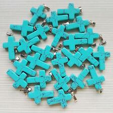Wholesale 50pcs/lot Turquoise Cross Stone Pendant Charms silver p Pendants stone