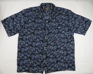 SOS Shirt Co Short Sleeve Button Up Shirt size XXL Blue Leaf Made in Australia