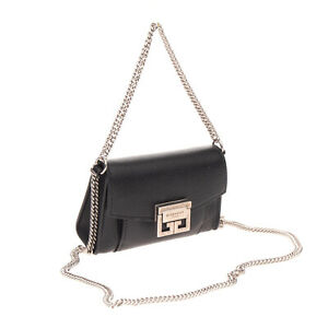 RRP €1600 GIVENCHY GV3 Leather Micro Shoulder Bag Grainy Chain Strap Logo Detail