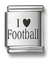 Laser Italian Charms I Heart Football 9 mm Stainless Steel Link Bracelet Sports
