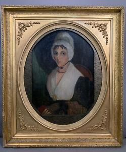 Antique 19thC Primitive ANTEBELLUM LADY PORTRAIT Old VICTORIAN Folk Art PAINTING