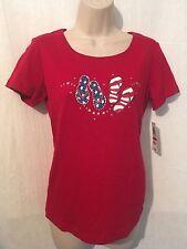 Karen Scott Top XS Red Stars Stripes Flip Flops Cotton New 170739