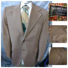 Vtg 70'S Colebrook 44R Disco Double Knit Poly Blazer Mens Brown Stripe Jacket