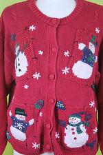 Croft & Barrow Red Patch Santa Christmas Cardigan Sweater XL