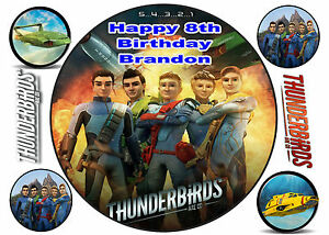 """EDIBLE THUNDERBIRDS ARE GO 8"""" PERSONALISED BIRTHDAY ICING CAKE CUPCAKE TOPPERS"""