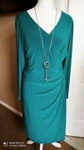 Gorgeous Damsel In A Dress Dress Green Size 20 Faux Wrap Wiggle Body Con New