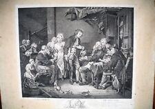 GRAVURE ORIGINALE-L ACCORDEE DE VILLAGE-J.B. GREUZE-MARIAGE-DOTE-PAYSAN-XVIII EM
