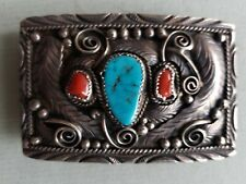 Native American Silver Navajo Belt Buckle signed Thomas? Turquoise, Coral  #5