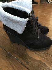 New Look Brown Wedge Boots Size 4 Shoes Women's Girls Ladies Suede Heels Lace