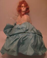 Old Antique German Paper Mache Red Haired Half Doll Sewing Pin Cushion w/ Dress