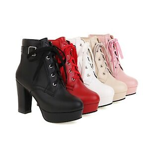 Women's High Heel Platform Round Toe Shoes Lace Up Synthetic Leather Ankle Boots