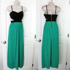 BEBE KATRINA SIDE CUT OUT GREEN BLACK MAXI DRESS NEW NWT MEDIUM M