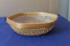 More details for vintage six-sided wicker basket bowl 20cms diameter 5cms deep