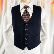 UNBRANDED  Navy Blue Solid Men Vest
