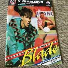 Sheffield United v Wimbledon Division 1991/92 un programme