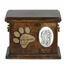 Neapolitan Mastiff - Urn for dog's ashes with ceramic plate and description Usa