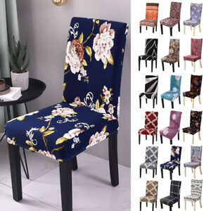 Spandex Stretch Dinning Chair Seat Covers Floral Printed Protective Slipcovers