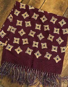 "Vintage maroon red rayon c. 1930-40 mens foulard neck scarf (49"" x 12"")"