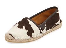 100%authentic GUCCI Calf-Hair Espadrille Flat, Brown shoes sz 10B