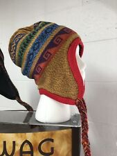 Cool red/yellow reversible adult peruvian alpaca chullo hat
