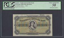Sweden Sundsvalls Enskilda Bank 10 kronor 1902 PS593es Litt P Specimen AUNC