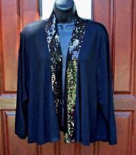 GEORGE open front cardigan black sequined neckline Sz 3XL 22W-24W NWOT gorgeous
