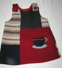 Upcycled Handmade Toddler Girls Wool Jumper Dress - 3T, 4T  Patchwork, Red Blue