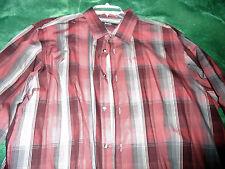 Men's XXL Macy's ALFANI Button Down Shirt Plaid/Stripe Shades of Burgandy Grey