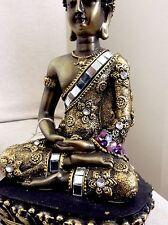 Beautiful Meditation Buddhas Statue. Adorned In AMETHYST Swarovski Elements