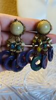 VTG Runway Earrings Cabochon Dangle Waterfall Cluster 80s Beaded Statement Clip