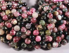 "GORGEOUS NATURAL MULTI-COLOR TOURMALINE 7MM ROUND BEADS 15.5"" STRAND"